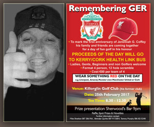The first anniversary of Jeremiah G. Coffey, Farranfore is to be marked by his family and friends with a day of fun/golf in his honour. Proceeds of the day will go to the Kerry/Cork Health Link Bus.