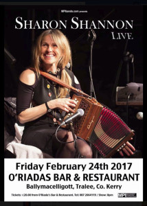 The poster announcing the greatly anticipated concert by Sharon Shannon at Ó Riada's on Friday night.