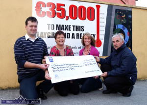 2009 Castleisland Races Committee treasurer, Ronan Bourke (left) and chairman, Charlie Farrelly presenting a cheque for €10,532,87 for the development of the children's playground to Spraoi Oileán Chiarraí committee members, Oorla Casey (left) and Mary Burke at Market Cross  in 2009.  ©Photograph: John Reidy 27-8-2009
