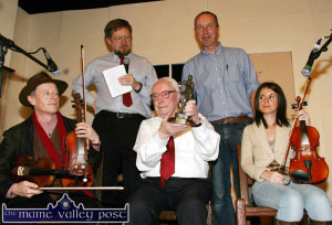 Award recipient, Maurice O'Keeffe pictured with Gerry Harrington (left) Peter Browne, Cormac O'Mahony and Mr. O'Keeffe's granddaughter, Eileen O'Keeffe during the 2007 Patrick O'Keeffe festival concert at the Ivy Leaf Art Centre. ©Photograph: John Reidy 28/10/2007
