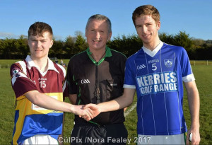 Cordal/Scart Captain, Sean Walsh, (left) with Referee, Christy Crowley and Kerins O'Rahilly's Captain, Rory O'Connor pose for a photograph before their game on Saturday. ©Photograp: CúlPix/Nora Fealey.