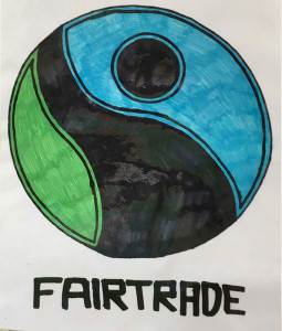 The Fair Trade logo drawn by Castleisland Community College Transition Year student, Erik O'Sullivan.