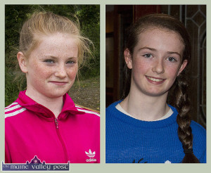 Desmonds players, Jessie Cahill, (left) and Paris McCarthy getting a nod of congratulations for their parts in the Kerry U-14 team successes. ©Photograph: John Reidy