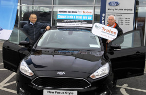 Stephen Benner, Kerry Motor Works (left) and Fintan Ryan CEO Tralee Credit Union at the announcement of the Kerry Motor Works deal for of the 2017 series of car draws for Tralee Credit Union members.