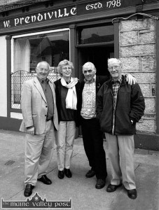 The late Timmy Buckley (right) pictured with John (left) and Barbara Power and Mikey Conway outside Sheila Prendiville's during the Powers' family tracing visit here in 2001. ©Photograph: John Reidy 24/03/2001