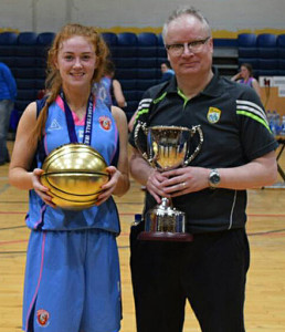 Winning is a habit for MVP Kayla O'Connor and her high achieving coach, John Enright. They are pictured in the National Basketball Arena in Tallaght after Wednesday's game.