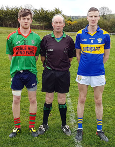 Beale's Captain, Tom Joy with referee Michael Moriarty and Cordal's Captain, Philip O'Connor before their game in the Junior Club Championship Round 1 in Cordal on Easter Sunday.