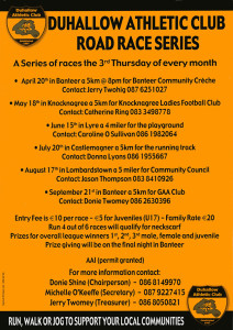 A Duhallow AC race promotion leaflet. Click on the image to enlarge.