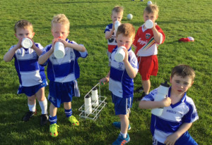 Boys U-6 team members taking a vital water break from training at 'The Field' last evening. There was a fantastic crowd there with U-6, U-8 and U-10 boys taking part. Training for these age groups is held every Friday evening at 6:30pm. Photograph: Gerdie Murphy