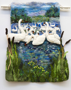 A fine example of the art of Feltwork by Martyn Bell hanging at Castleisland Library during his classes  there in 2015. ©Photograph: John Reidy 27-5-2015