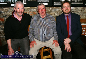 In the can: Box player, Jimmy Doyle (centre) pictured with Céilí House presenter,  Kieran Hanrahan (left) and producer, Peter Browne after the recording of the special on the charismatic musician in Fagin's Bar in Castleisland in April 2009. ©Photograph: John Reidy 18/04/2009