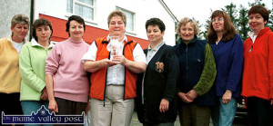 Members of the Knocknagoshel Women's Group pictured in 2001 with The Kingdom / AIB Award at their local community centre. From left: Peg O' Donoghue, Marie O'Callaghan, Marie Reidy, Cáit Curtin, Chairperson; Catherine Brosnan, Mary Lane, the late Carmel Linehan and Margaret Brosnan. ©Photograph: John Reidy 21-11-2001