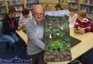 Felt artist and class tutor, Martyn Bell pictured with an example of his artwork during one of his classes at Castleisland Library in May 2015. ©Photograph: John Reidy 27-5-2015