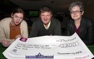 Remembering Ger organising committee member, Mike Sheehan pictured with Trish Kelly (left) and Breda Dyland of the Kerry/Cork Health Link Bus at the presentation of the cheque at Sherwood's Bar and Restaurant in Farranfore on Sunday night. ©Photograph:  John Reidy