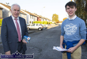On the hustings: Kerry Young Fine Gael Chairman, Art O'Mahony out on the hustings in Castleisland with Minister Jimmy Deenihan prior to the last general election. ©Photograph: John Reidy