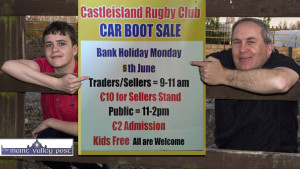 Castleisland RFC Car Boot Sale organiser, Brian O'Sullivan with his son, Conor flagging the June Bank Holiday Monday event at The Crageens. ©Photograph: John Reidy