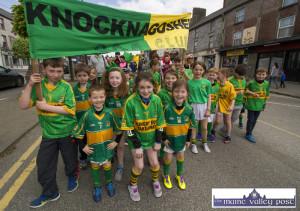 The Knocknagoshel GAA Club representatives at the Coiste Na nÓg 50th anniversary parade in Castleisland on Sunday. ©Photograph: John Reidy
