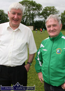 Dean David Lupton (left) pictured in Castleisland with Georgie O'Callaghan in 2011. Both men have been exchanging tours back and forth over the past 40  years. ©Photograph: John Reidy 2-6-2011