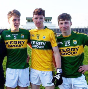 Kerry U-17s Luka Brosnan, Desmonds (left) with Brian Lonergan, Ballymac and David Shanahan, Desmonds.