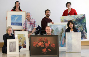Kerry Artists preparing their work for the 2016 Kerry Visual Arts Programme at the Department of Arts, Heritage and the Gaeltacht, Killarney. The Show Case opened on Kerry County Council's Culture Night last September. Front row: Mirka Pavelkova, Diarmuid O'Sullivan and Pat Owen. Back from left: Deirdre McKenna, Des Fitzgerald, Joseph Keating and Diana Muller. Photograph: Valerie O'Sullivan