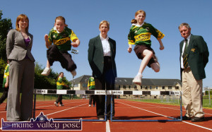 Flashback: At the launch of the 2009 Kerry Community Games programme of events at An Riocht AC stadium  were: Marie Rohan, Kerry Group, sponsors (left) with Margaret Culloty, Kerry Community Games secretary and Jimmy Turner, chairman. The young athletes are: Andrea Murphy, Castleisland  (left) and Katie Reidy, Cordal. ©Photograph:  John Reidy