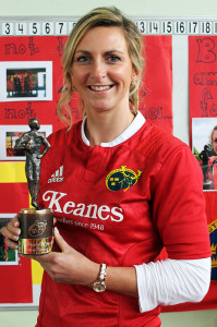 Former Irish international and current Munster Rugby captain and Player of the Year Award winner, Siobhán Fleming with the winner's statuette  at Scoil Mhuire agus Naomh Treasa in Currow on Friday. Photograph: Breda McGaley.