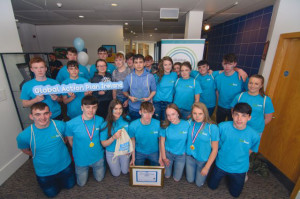 All-Ireland Water Explorers Champions: members of the castleisland Community College team after the announcement in Dublin on Wednesday.