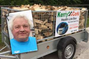 Castleisland Vintage Run organiser, Noel O'Connor inset on the actual trailer of Ash firewood which will be raffled at today's Castleisland Vintage Run. ©The Maine Valley Post