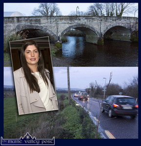 Cllr. Maura Healy Rae following up on her eye-opening job on Droichead an tSagairt or Dean Reidy Bridge in Currow and her concerns for road users and lags in Farranfore.  ©Photograph: John Reidy