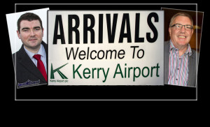 Minister Brendan Griffin and Cllr. Bobby O'Connell - welcoming the arrival of the grant to Kerry Airport. ©Photographs: john Reidy