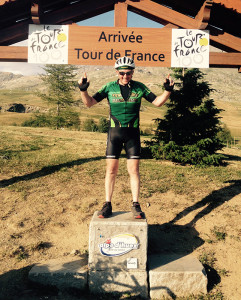 Tommy takes a trimmer approach to his Tour de France charity run in July 2015 as he poses on the infamous Alpe d'Huez.
