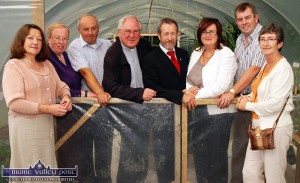 Poly-Tunnel Vision: At the blessing and launch of the Abbeyfeale Community Garden in August 2010 were: Eileen Sheehan, Castleisland (left) Marian and Billy Harnett, Abbeyfeale; Fr. John O'Shea, PP Abbeyfeale; Seán Kelly, MEP; Eimear Brophy, Adult Education Officer; Cllr. John Sheahan, Glin and Anne Flanagan, Mountcollins.  ©Photograph: John Reidy 25-8-2010