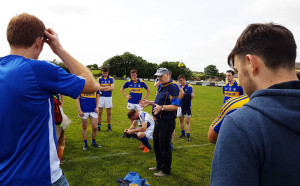 Cordal GAA Club senior team manager, Andy O'Leary delivering some well earned words of praise to his players after the weekend's victory over Rathmore.