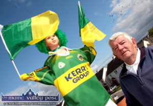 Castleisland man, Franco Moriarty adapted and dressed a manequin in the Kerry colours and planted it on a chimney at An Caisleán Mór in Castleisland.  ©Photograph: John Reidy