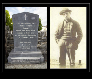 The roadside monument in Ardmona in Cordal and a photograph of the ill-fated John Twiss c1894. Image courtesy of Paul Dillon.