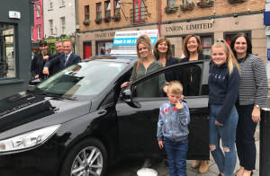 Veronica Costello with her daughters  Sharon, Jane, Sarah and her grandson Shane at the handing over of the keys with Stephen Benner, Kerry Motor Works, Katrina Rice and Suzanne Ennis, Tralee Credit Union.