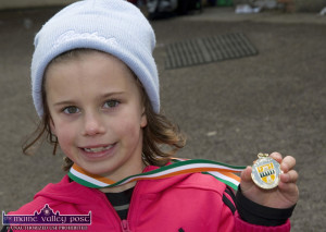 The Gold Medal Habit: Róisín Rahilly, Ballymacelligott proudly displays her 60M Sprint Gold Medal at the 2013 County Juvenile Track & Field Championships at An Riocht Athletic Club in Castleisland. On Saturday she won Gold and Silver medals at U- ??? in ©Photograph: John Reidy 11-5-2013