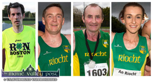 Longford half marathon winner, James Doran, An Riocht AC (left) pictured with a souvenir top from the 2013 ill-fated Boston Marathon. Seán O'Sullivan and Larry Hickey who both came third in their categories and Shona Heaslip who finished 11th in the World University Games in Taiwan. ©Photographs: John Reidy
