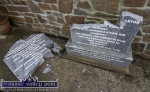 The Civil War monument in Knocknagoshel in bits after last night's second attack since it was unveiled in November 2013. ©Photograph: John Reidy