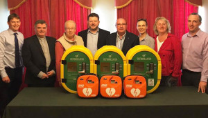 At the handing over of the defibrillators and cabinets at Leen's Hotel were: Micheal Lane, Chairman Abbeyfeale Pastoral Council; Canon Tony Mullins PP; Marian Harnett, ACC; Maurice O'Connell, Chairman ACC; Cllr Francis Foley, Marie McElligott, Tidy Towns; Gerardine O'Brien, Abbeyfeale Town Park and Kevin Kenneally, Abbeyfeale Tidy Towns.