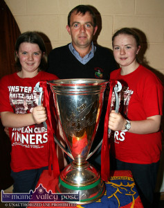 Irish Rugby International try scorer, Ciara Griffin (left) pictured with her sister, Fiona and their dad, Denis with The Heineken Cup at Castleisland Rugby Club in 2006. ©Photograph: John Reidy 26/10/2006