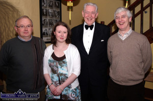 The late Michael Twomey pictured with Kerry Drama Federation members, Aidan (left) and Anne Bríd Reidy with festival director, Jerome Stack (right) at the Ivy Leaf Art Centre during the 2009 Kerry Drama Festival.  ©Photograph:  John Reidy 8-3-2009