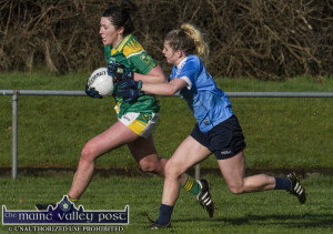 Kerry midfielder, Lorraine Scanlon taking on Dublin's Martha Byrne during the Lidl Ladies National League Round 2 Game in Castleisland in February. The Kerry ladies face Dublin again on Saturday in Thurles. ©Photograph: John Reidy
