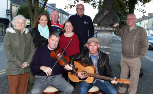 Launching the Con Houlihan memorial concert which will take place in the Castleisland Carnegie on 30th September seated from left Con Moynihan, Proinsias O'Sullivan standing Noreen Casey Eileen McSweeney Colm Nolan Ailish Walsh Dan Casey Donal P Murphy.