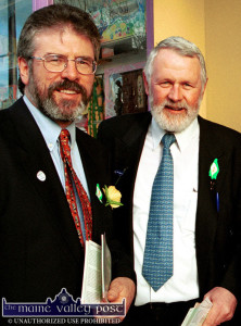 Sinn Féin President,  Gerry Adams and  Kerry Sinn Féin TD Martin Ferris in Castleisland. Mr. Adams will visit Kerry again on Thursday evening for the book launch. ©Photograph: John Reidy