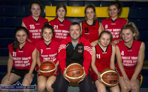 St. Mary's Basketball Club players and new coach, Liam Culloty after his introduction on Wednesday evening at Castleisland Community Centre. Included are, front from left: Nicole Downey,Siobhán Collins, Mr. Culloty, Sarah O'Sullivan and Labhaoise Walmsley. Back from left: Shauna Ahern, Hazel McCarthy, Millie Luck and Maebh Young. ©Photograph: John Reidy