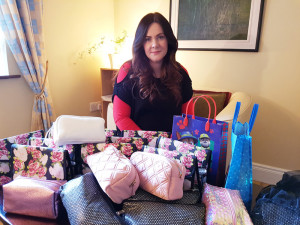 Assembled with Care: Caroline McCarthy pictured with the Care Packs she put together for cancer patients for both Recovery Haven Kerry and   Photograph: Marisa Reidy