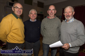 A quick photo call before the Céilí House recording began at Tureencahill Community Centre on Saturday evening. Included are from left: Aidan Butler producer; Bertie O'Leary, centre committee member and event organiser; P.J.Teahan, Handed Down/World Fiddle Day Scartaglin co-founder and Kieran Hanrahan, Céilí House Presenter. ©Photograph: John Reidy