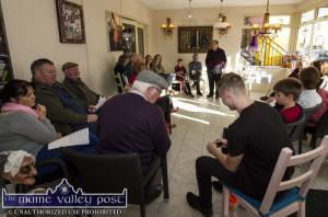 Éamonn Ó Braoin with his Glór Na Féile gathering at Nana Bea's during the 2016 Patrick O'Keeffe Traditional Music Festival. Éamonn will conduct a 'Pop-Up Gaeltacht' at the same venue on this Saturday, October 28th at 2pm.  ©Photograph: John Reidy