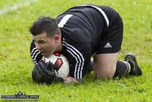 Castleisland AFC A team 'keeper, Steven Bartlett made some great saves on Sunday. ©Photograph: John Reidy